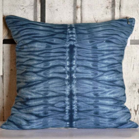 Unique handmade Shibori Dyed linen pillow. The fabric of this beautiful cushion was created using shibori dying technique. Each cushion has