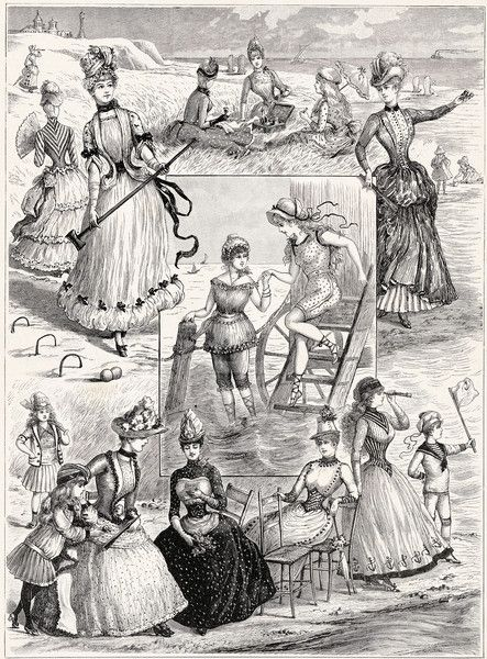Bathing, sport and seaside fashions, 1880's, source missing