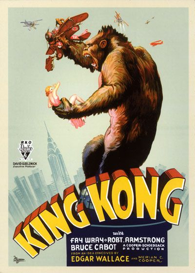 King Kong (1933)  A film crew goes to a tropical island for an exotic location shoot and discovers a colossal giant gorilla who takes a shine to their female blonde star.