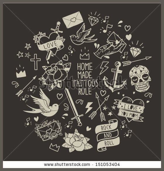 Old school tattoo elements Cartoon tattoos  in funny style anchor, dagger, skull, flower, star, heart, diamond, scull and swallow