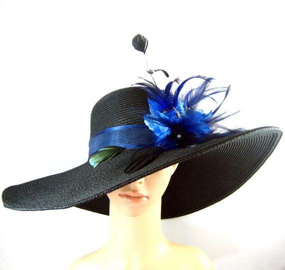 Blu piuma fiori vestito cappello Chiesa Black di theoriginaltree