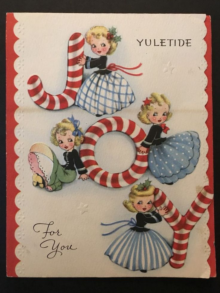 40's Vintage Christmas Card Pretty Blond Girls In Dresses Posing On JOY Letters