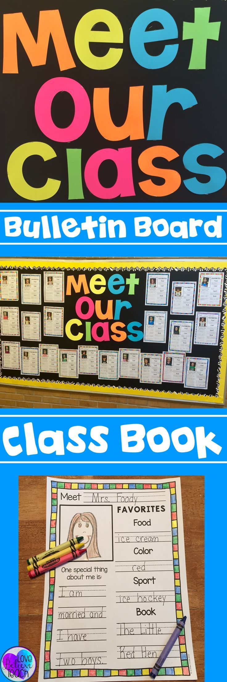 """Create a simple EYE-CATCHING bulletin board or a fun Class Book.  A great """"getting to know you"""" activity. Perfect for back-to-school. Directions on how to create these JUMBO letters are included :)"""