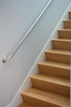 Angled riser maple stairs. modern staircase anodized Aluminum handrail /pipe fittings