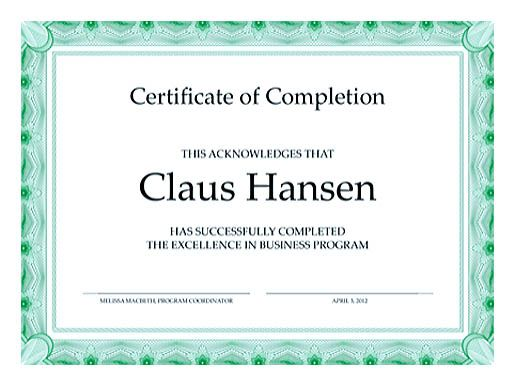 , Decent Design of Certificate of Completion Template for Any Occasions , Certificate of completion template can be used to create a decent looking certificate to signify a completion of certain activities in the respective times.