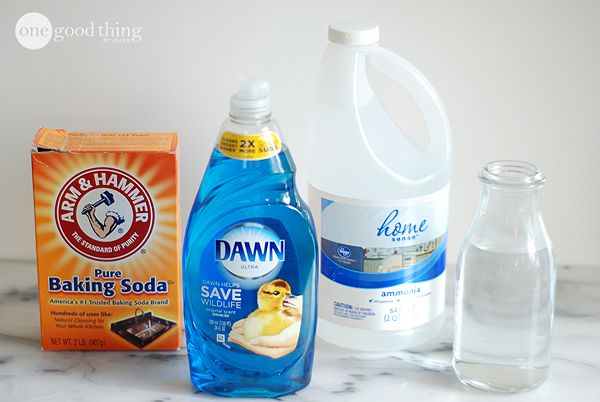 Homemade Shout...2/3 c. Dawn, 2/3 c. ammonia, 6 T. baking soda, 2 c. warm water. Mix, pour into spray bottle.