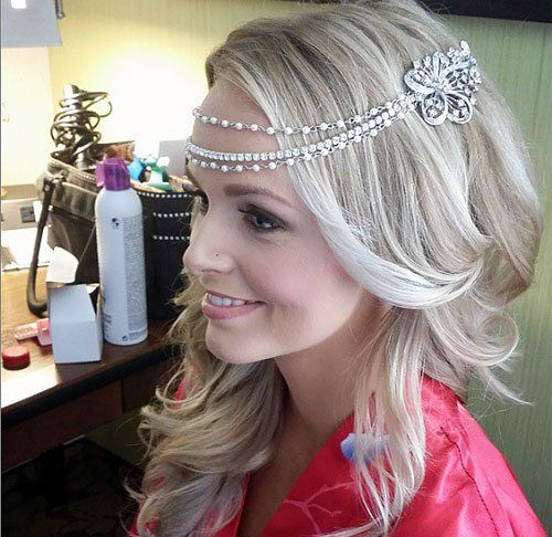 curly blonde wedding hairstyle