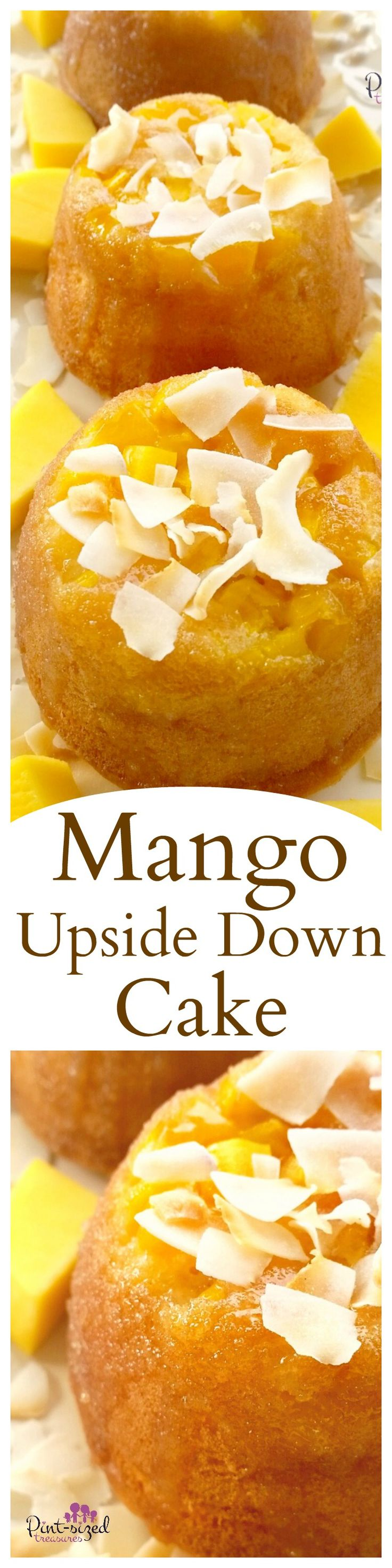 Gorgeous mango upside down cakes are topped with a homemade syrup that adds an additional touch of sweetness to this super-moist, rich, fruity cake. And don't forget the toasted coconuts that are sprinkled throughout the cake and on top! Enjoy this super-easy version of oh-so-yummy upside down cake!