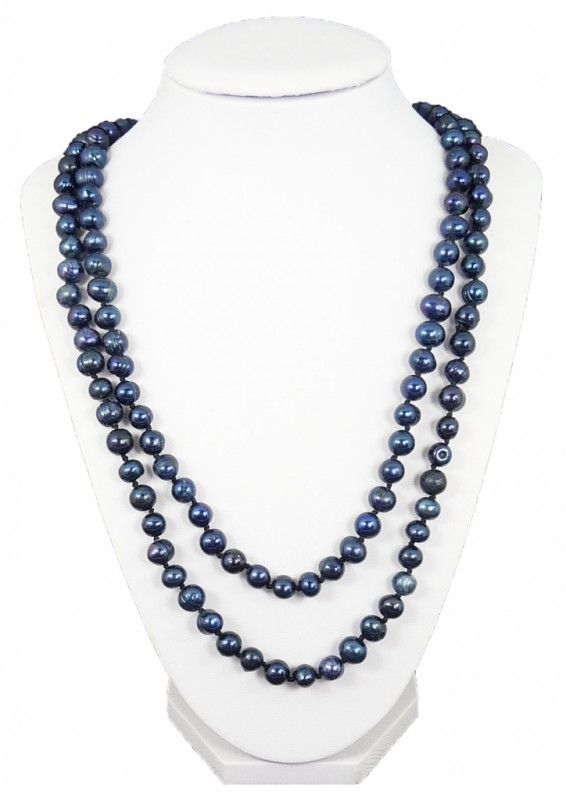Náhrdelník říční perly modré dlouhé 10770 | Bižuterie Kozák