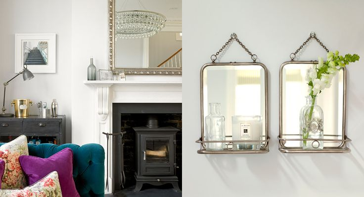 English Country Goes City - love the ledged mirrors