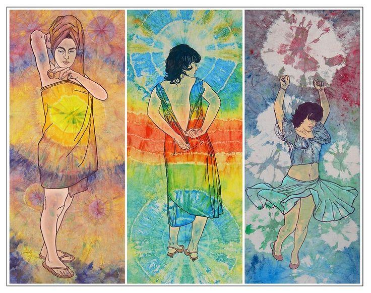 Imitación de vida-Serie Autorretrato de la artista adolescente Tríptico  100 cm x 40 cm c.u  Acrílico-Lienzo  2007  1800€ #arte #art #cuban #Lisandra Isabel Garcia
