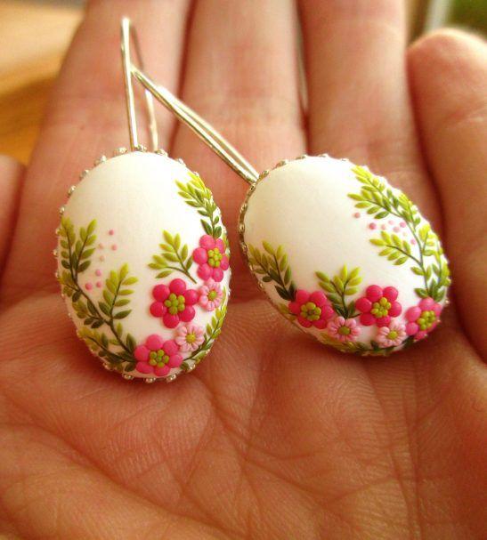 floral handmade earrings flower jewelry polymer clay
