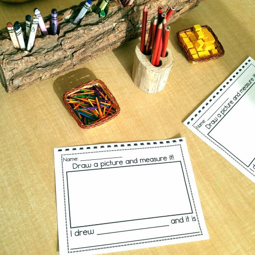 Draw a picture and measure it. Math center for kindergarten students.
