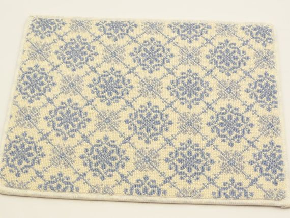 "Wool Door Mat Prestige Mill Carpet Mat Rug 14"" x 18"" Celina French Blue 100% Semi Worsted Wool on Etsy, $7.99"