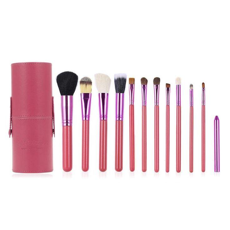 12pcs Cosmetic Makeup Brush Set with Round Handle Powder Applicator Kit for Foundation Eyeliner Blush Contour Cream Concealer #Affiliate