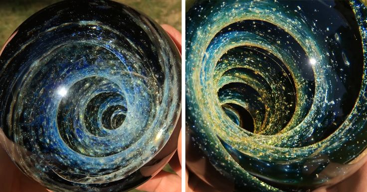 Glass artist Scott Pernicka has the ability to fit an entire galaxy into the palm of a hand. His handcrafted glass vortex spheres create optical illusions that make the viewers believe they're gazing into outer space.