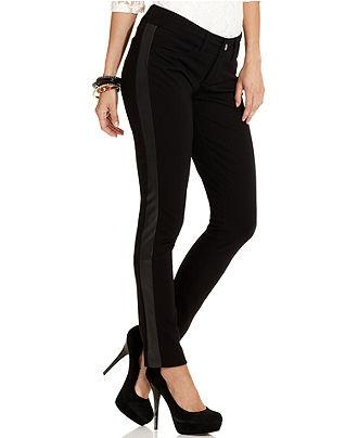 Seven7 Petite Pants, Skinny Tuxedo-Stripe - Womens Petite Pants - Macy's