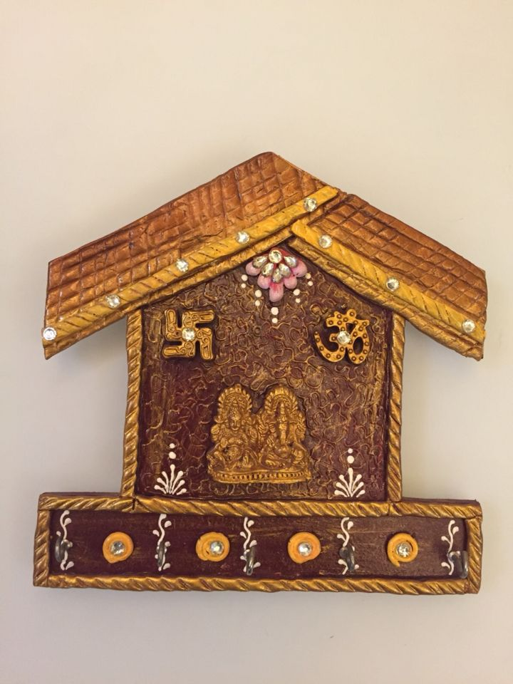 Laxmi and Ganesha in a hut design  Hand crafted key holders. Material used wood