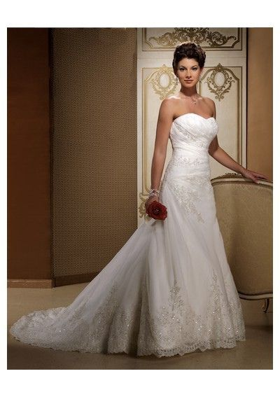 Organza Strapless Slight Sweetheart Neckline with A-Line Skirt and Chapel Train Chich Bridal Wedding Dress by CynthiaPerez59, via Flickr
