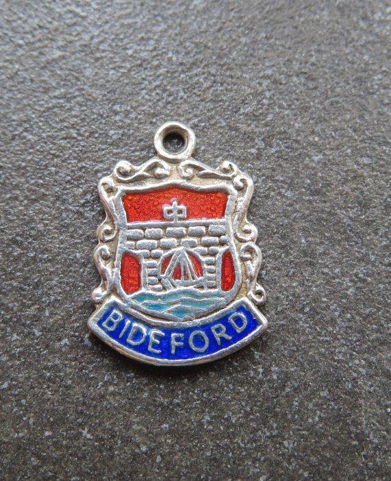 Enamel Shield Charm Bideford Silver Bracelet Charm Vintage