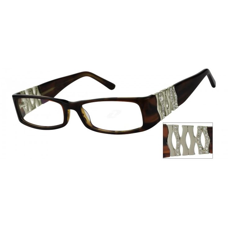 A brown fashion full-rim acetate frame with sparkling crystals on the wide  plastic adjustable