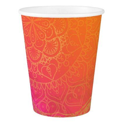 Fuchsia Pink Orange & Gold Indian Mandala Party Paper Cup - bridal shower gifts ideas wedding bride