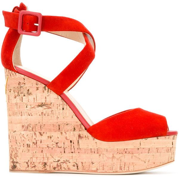 Giuseppe Zanotti Design Wedge Sandals (94255 DZD) ❤ liked on Polyvore featuring shoes, sandals, wedges, red shoes, suede wedge sandals, wedge shoes, suede wedge shoes and open toe sandals
