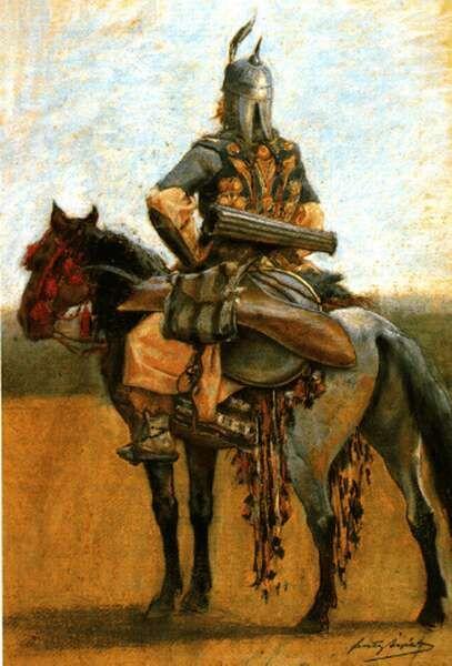 Honfoglalás kori magyar lovas - Feszty Árpád pasztellképe