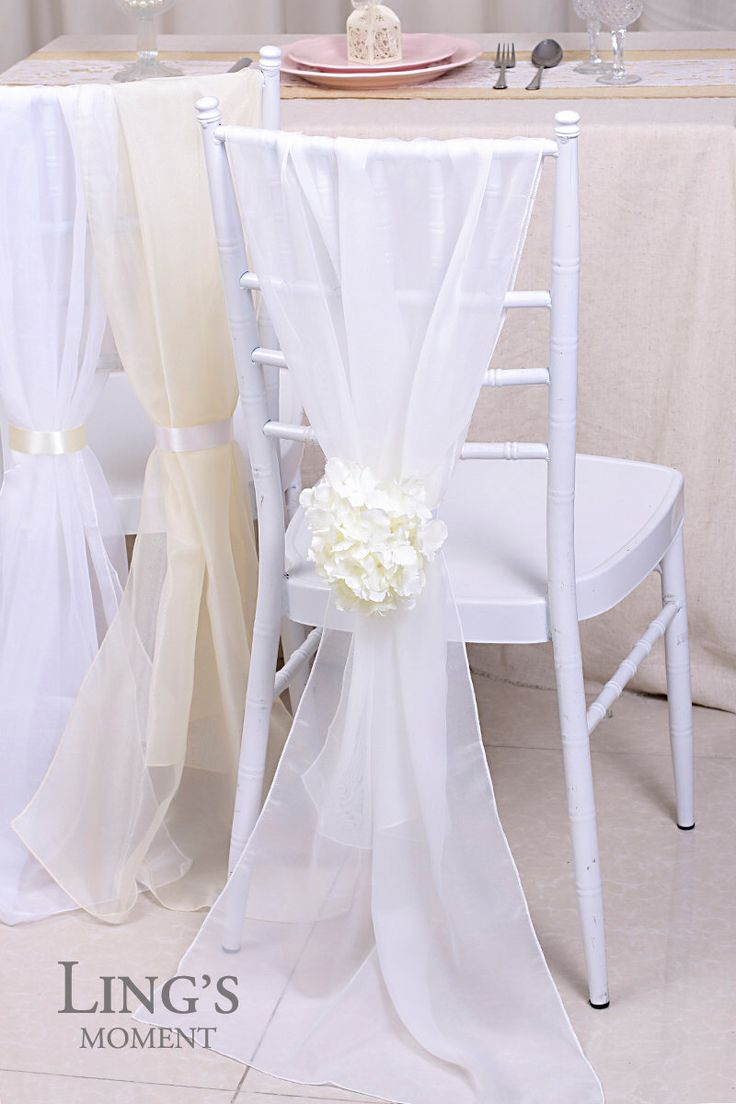 """21""""x70"""" White Plain Chiffon Chair Covers-Chiffon Chair Sash with Hydrangea-Ivory Banquet Party Chair Cover-Wedding Draping Fabric SHD/CFX001 by BlissByLingsMoment on Etsy https://www.etsy.com/listing/228121678/21x70-white-plain-chiffon-chair-covers"""