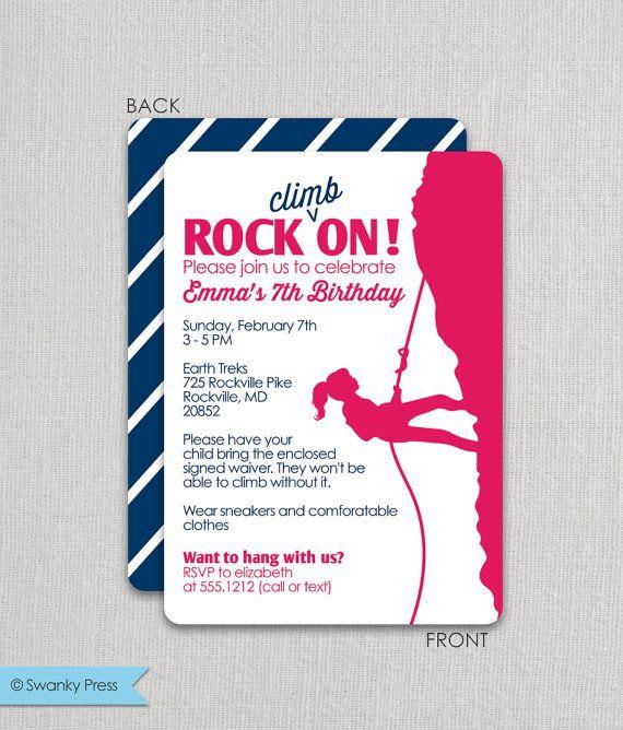 Rock Climbing  Girls Rock On  Birthday Invitation
