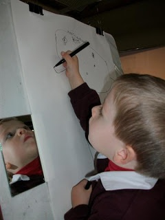 Attach a mirror to the easel ... try to express variety of emotions and draw them (or choose one)