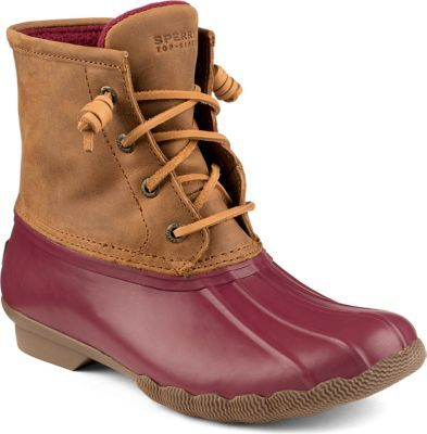 Sperry Saltwater Duck Boot Burgundy/Tan, Size 8M Women's Shoes