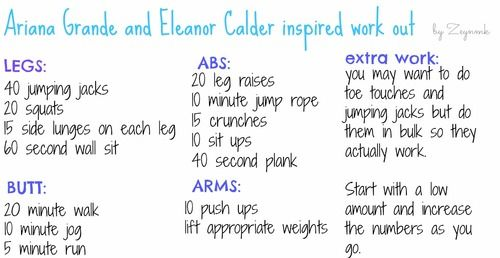 At first, if you really want to get a body like eleanor you have to know that it is a really hard work !!  -60 jumping jacks  -1 min wall sit  -20 bicycles  -20 side leg lifts  -30 lunges  -20 minutes cardio  -call me maybe challenge  -abs all night  ( 30 min )