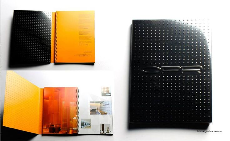 Corporate book for OPR spa, a company, operating in national and international exhibitions, based in Ferrara, 2010. Second edition. Embossed cover and inner pages. (photo ©IntergraficaVerona)