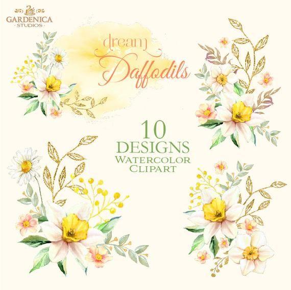 Daffodil Watercolor Clipart Daffodil Clip Art Yellow Flower