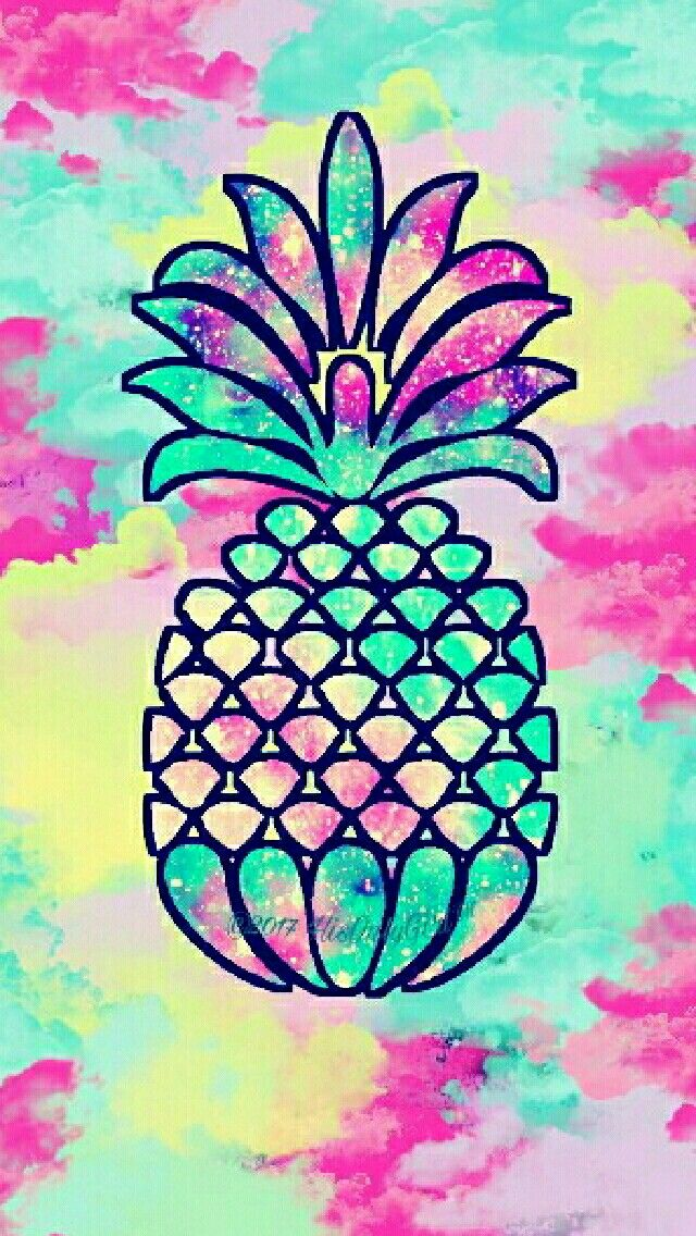 Sweet pineapple watercolor wallpaper I created for the app CocoPPa!
