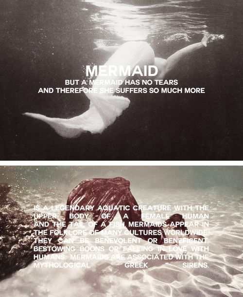 MYTHOLOGY MEME | (2/8) LEGENDARY CREATURES A MERMAID is a legendary aquatic creature with the upper body of a female human and the tail of a fish. Mermaids appear in the folklore of many cultures worldwide, including the Near East, Europe, Africa and Asia. The first stories appeared in ancient Assyria, in which the goddess Atargatis transformed herself into a mermaid out of shame for accidentally killing her human lover. Mermaids are sometimes associated with perilous events such as floods…