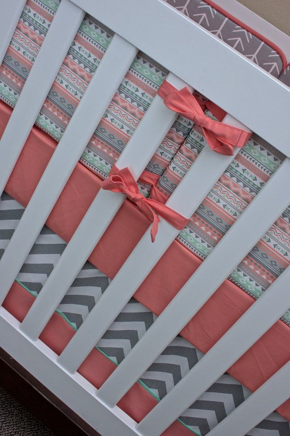 Tribal Crib Bedding Girl Nursery Bedding Set Salmon by modifiedtot