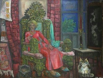 Cihat Burak: Aliye Berger'in Portresi. Tuval uzerine yagliboya. 130×9o cm. Ozel kolekaiyon