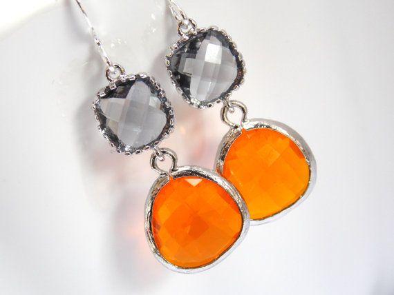 Glass Earrings Orange Earrings Gray Earrings Grey by mlejewelry, $25.00