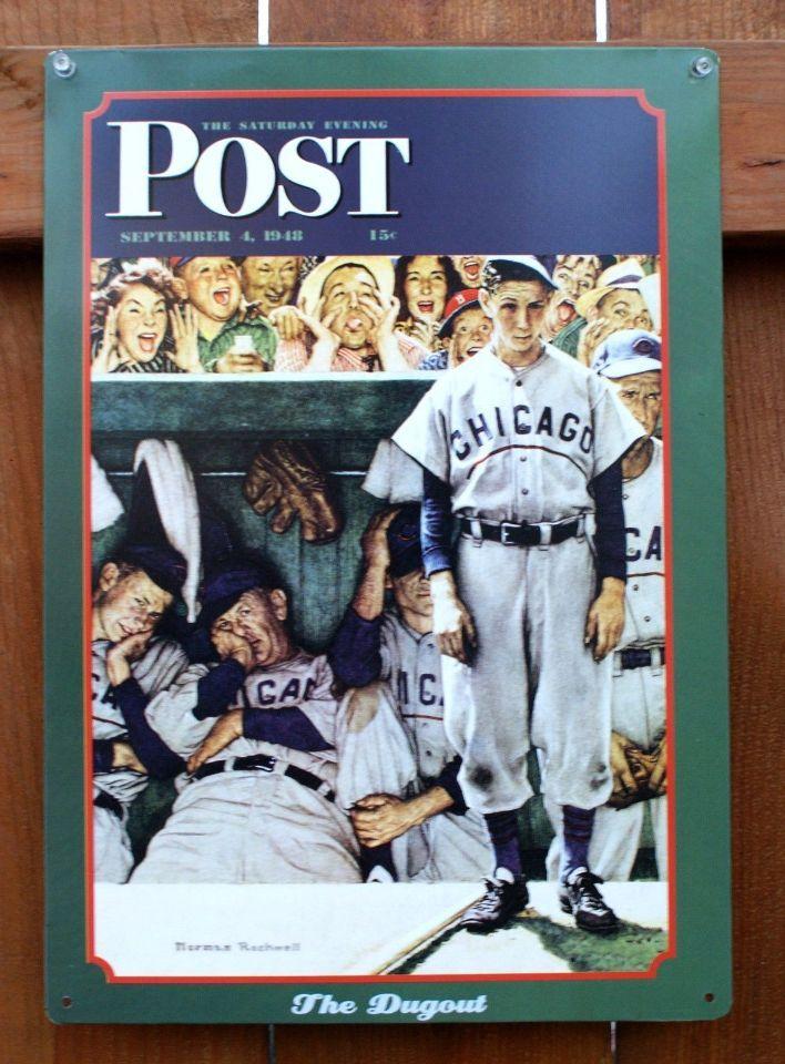 Pin Saturday Evening Post Retro Tin Metal Sign Americana Baseball Chicago Norman Rockwell C83