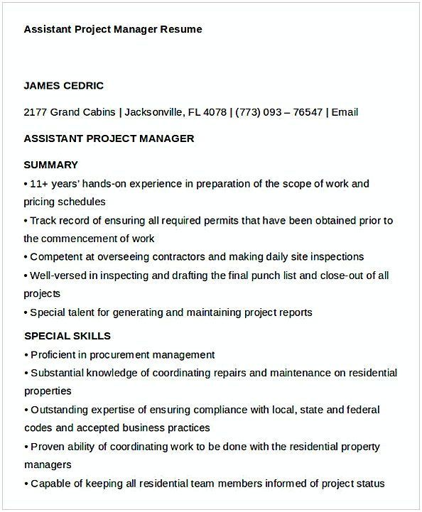 Assistant Project Manager Resume 1 #ProjectManagementTemplates  Assistant Project Manager Resume