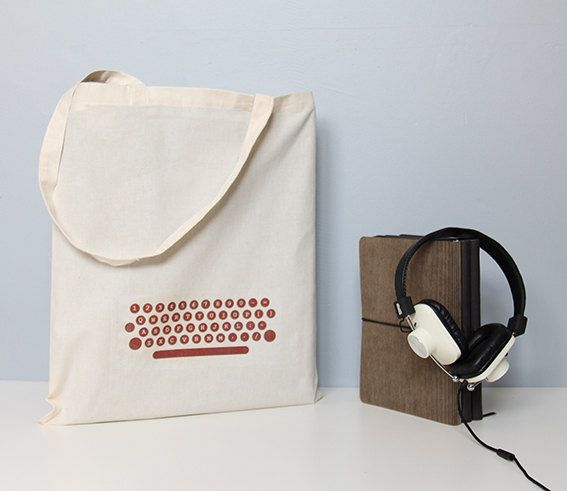 Tote bag, typewriter keys, typewriter tote, cotton tote bag, writer, typewriter