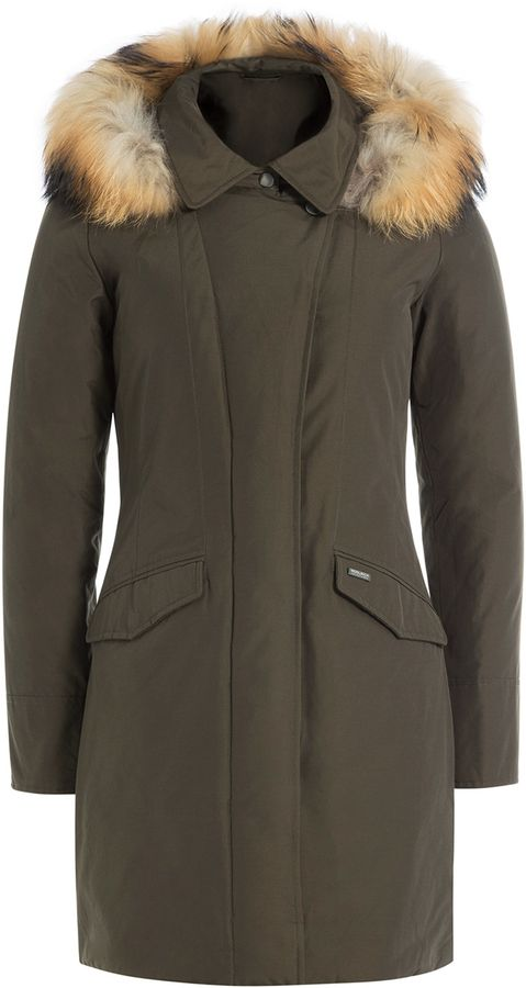 Woolrich Down Jacket with Fur-Trimmed Hood
