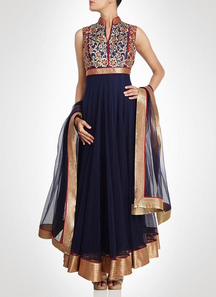 Navy net anarkali suit