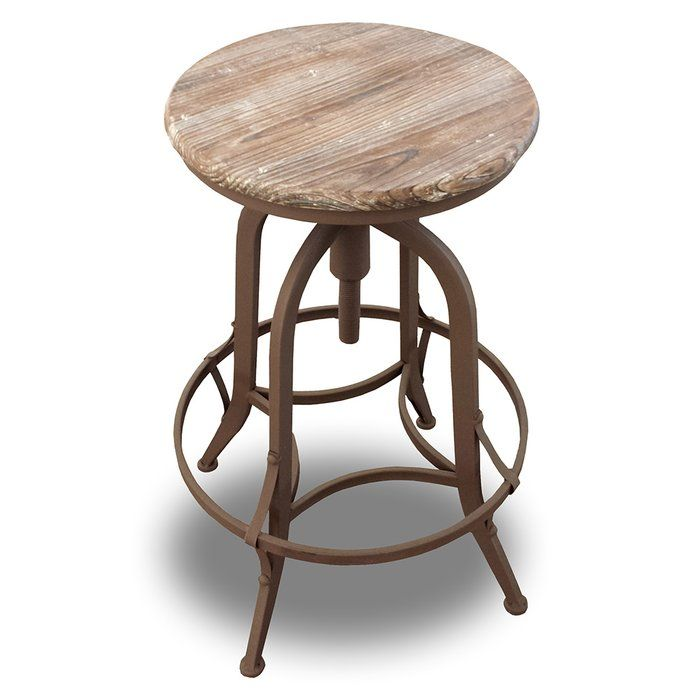 Set of 2! The Chester is a modern classic stool designed to fit any kitchen. One of the more traditional designs, the Chester has a solid steel frame. The seat can rotate 360 degrees which threads up and downward to adjust the height of the stool. The real wood seat top is given a beautiful patina finish creating an aged feel that adds to the flair of the stool. The steel frame has a intricate modern retro edge brace that adds to the visual impact and a footrest between the four legs…