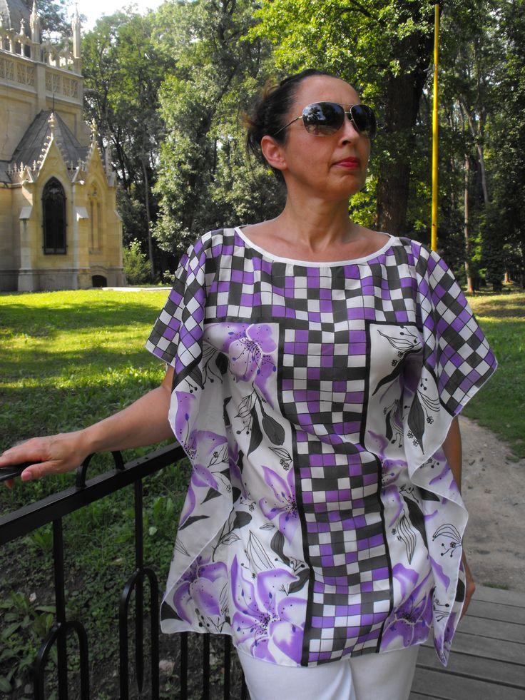 Tha kaftan for summer - 100% silk Habotai, hand painted - Ivana Cifranic