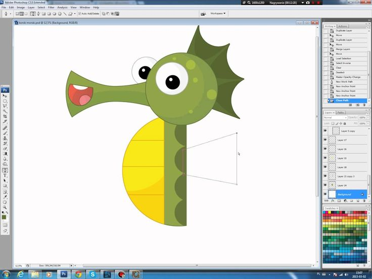 Illustrating drawing painting - cartoon seahorse Jak namalować konika mo...