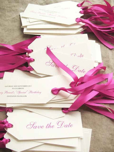 fuchsia coloured save the dates by eb1 wedding invitations
