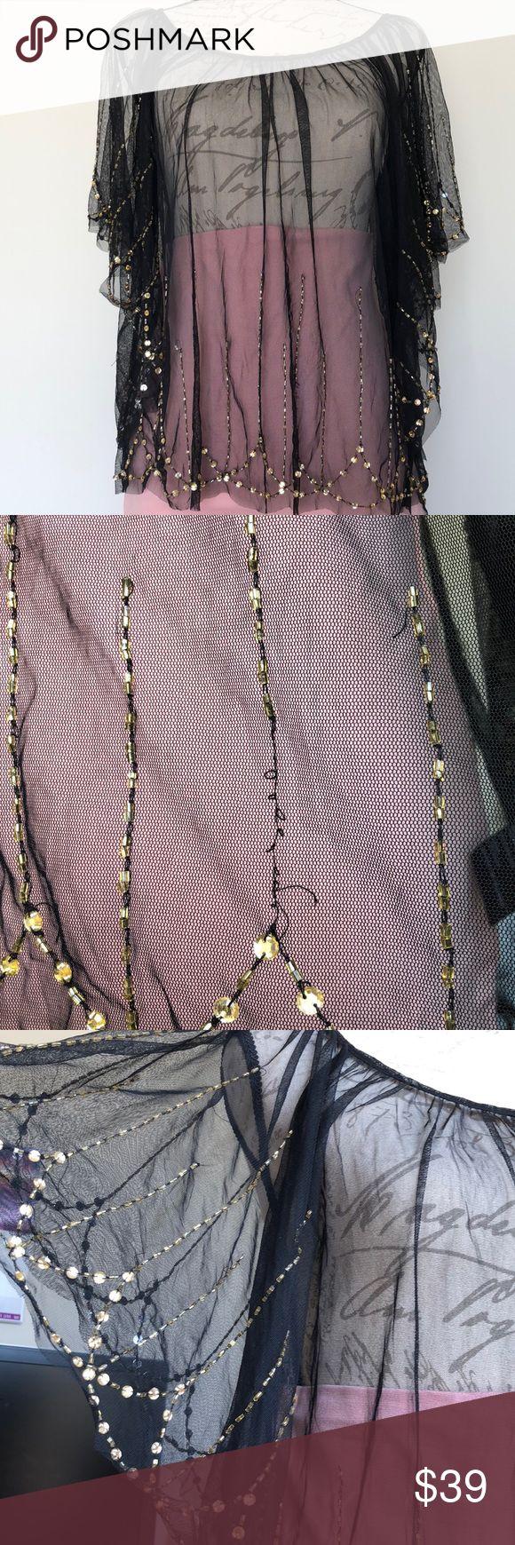 Perlen- und Strassverzierter transparenter Poncho Wunderschönes Accessoire für ein Outfit. Sein...